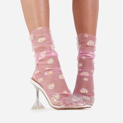 Daisy Print Socks In Pink Mesh