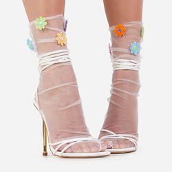 Multi Coloured Floral Socks In White Mesh