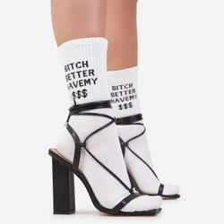 Better Have My $$$ Slogan Sport Socks in White