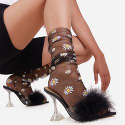 Daisy Print Socks In Black Mesh