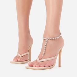 Diamante Gem Detail Foot Chain In Silver