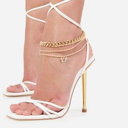 Butterfly Detail Chain Anklet In Gold