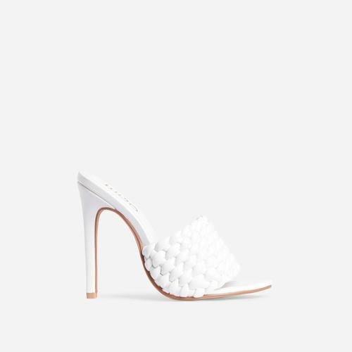 Twisted Woven Detail Peep Toe Heel Mule In White Faux Leather