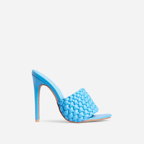 Twisted Woven Detail Peep Toe Heel Mule In Blue Faux Leather