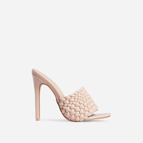 Twisted Woven Detail Peep Toe Heel Mule In Nude Faux Leather