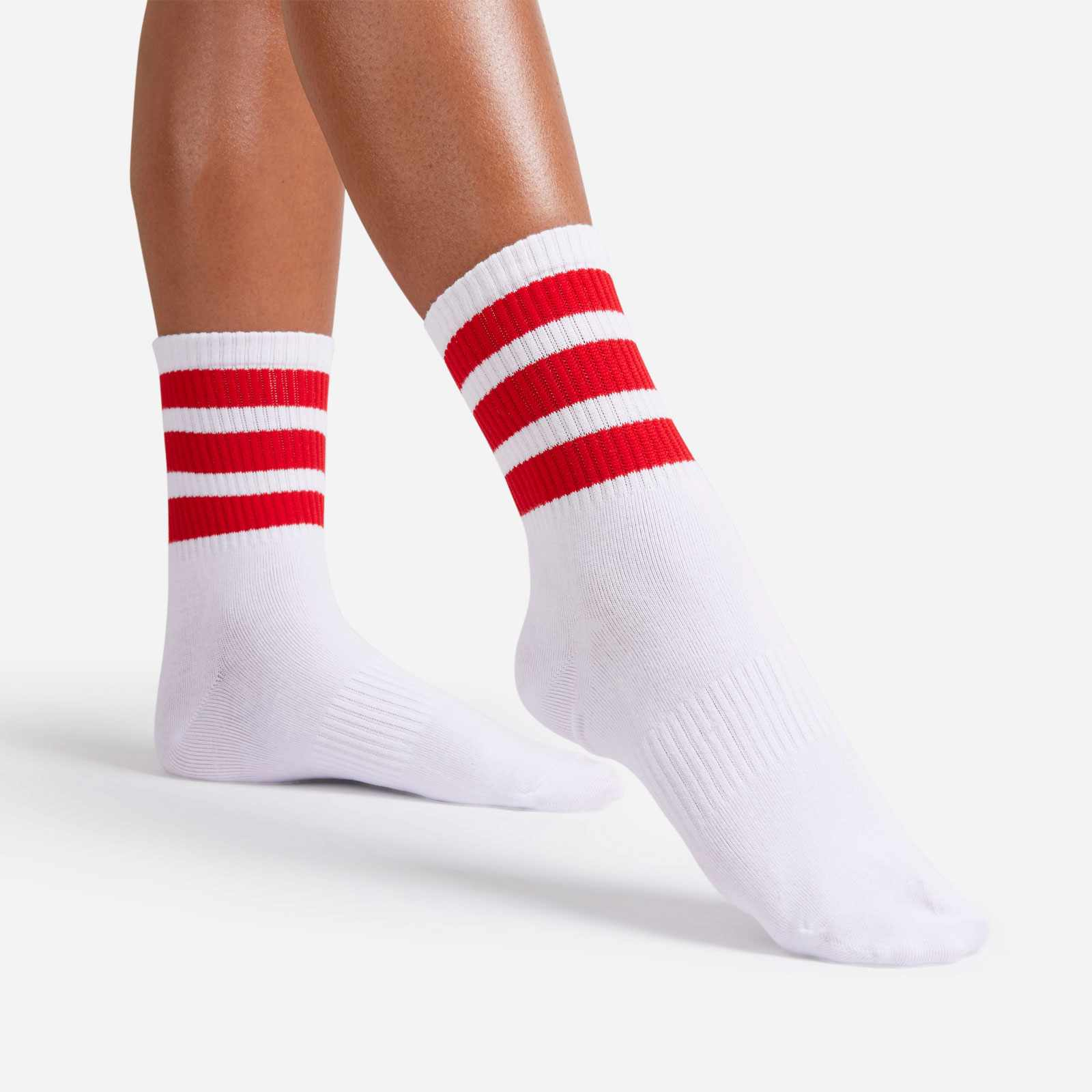 Red Triple Striped Sport Sock In White