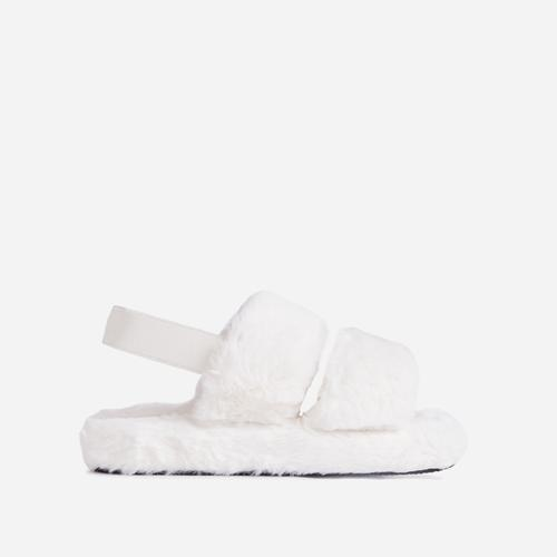 Latte Fluffy Stripe Slipper In White Faux Fur