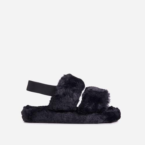 Latte Fluffy Stripe Slipper In Black Faux Fur