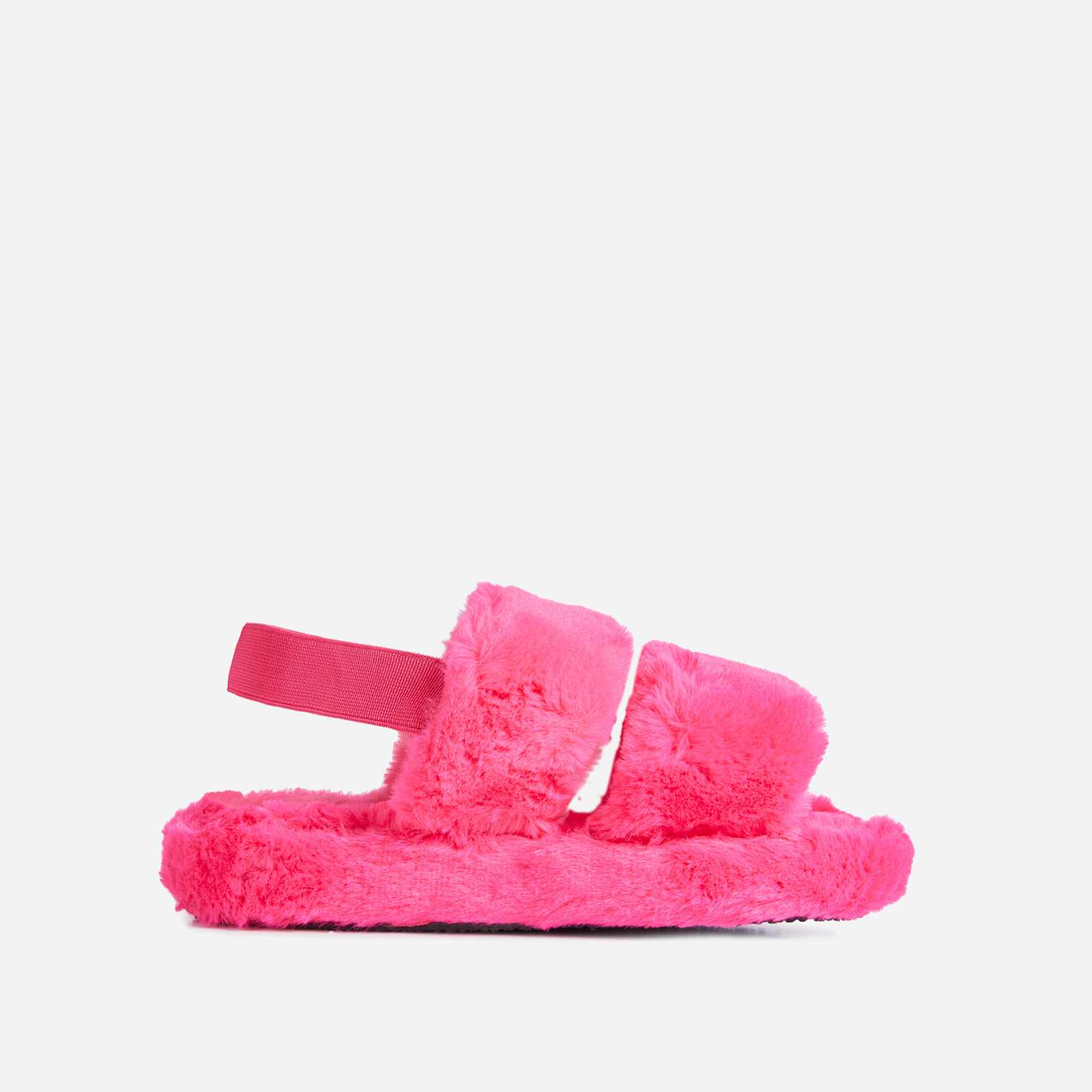 Latte Fluffy Stripe Slipper In Pink Faux Fur