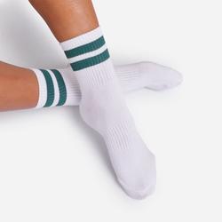Green Double Striped Sport Socks In White