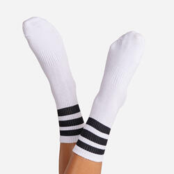 Black Triple Striped Sport Sock In White