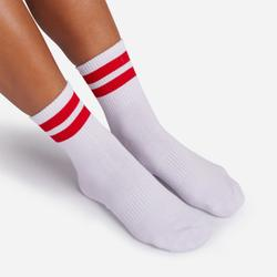 Red Double Striped Sport Socks In White