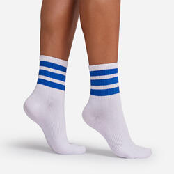 Blue Triple Striped Sport Sock In White