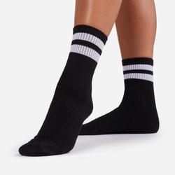 White Double Striped Sport Sock In Black