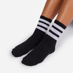 White Triple Striped Sport Sock In Black