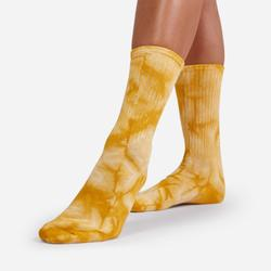 Ribbed Tie Dye Sport Socks In Yellow