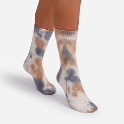 Tonal Ribbed Tie Dye Sport Socks In Nude