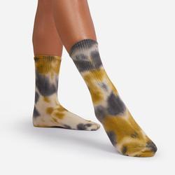 Tonal Ribbed Tie Dye Sport Socks In Yellow