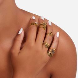 Multi Pack 13 Piece Hamsa Detail Rings In Gold