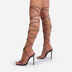 Venus Diamante Detail Thigh High Lace Up Heel In Black Faux Suede