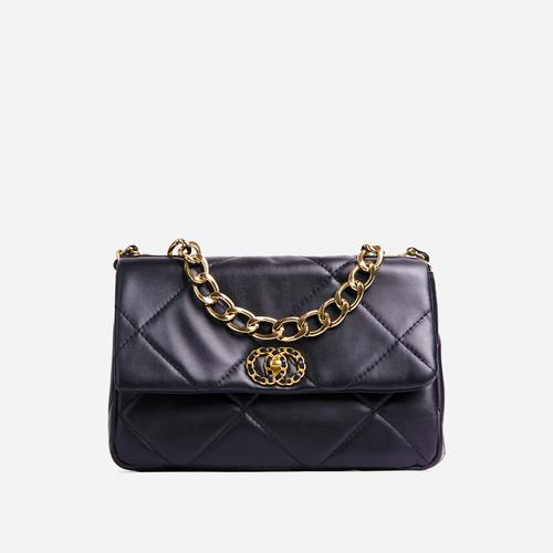 Cosmo Chain Detail Quilted Shoulder Bag In Black Faux Leather