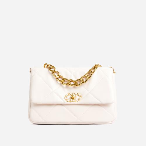 Cosmo Chain Detail Quilted Shoulder Bag In White Faux Leather