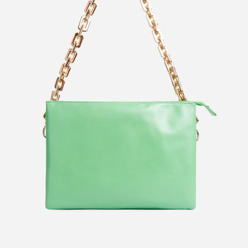 Glossy Multi Pocket Chunky Chain Shoulder Bag In Green Faux Leather