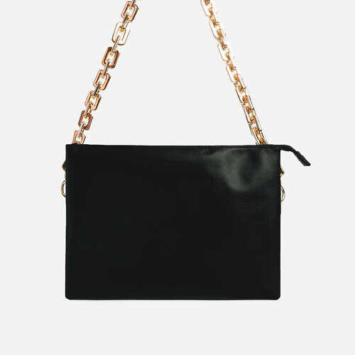Glossy Multi Pocket Chunky Chain Shoulder Bag In Black Faux Leather