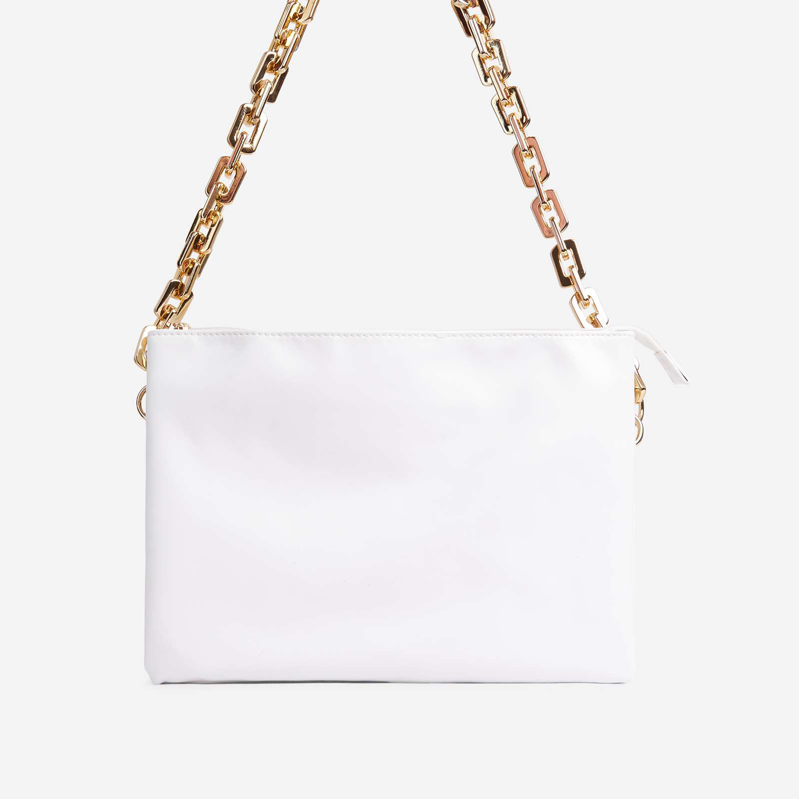 Glossy Multi Pocket Chunky Chain Shoulder Bag In White Faux Leather