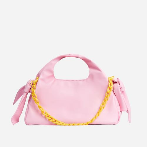 Cherry Bow And Chain Detail Grab Bag In Pink Faux Leather