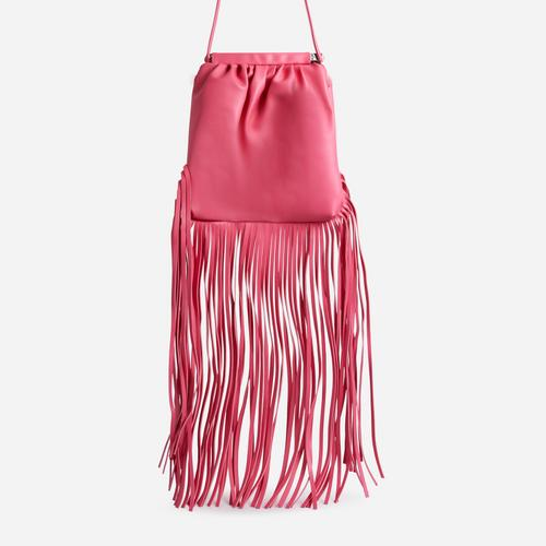Western Tassel Detail Cross Body Bag In Pink Faux Leather