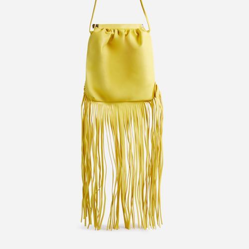 Western Tassel Detail Cross Body Bag In Yellow Faux Leather