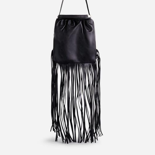 Western Tassel Detail Cross Body Bag In Black Faux Leather