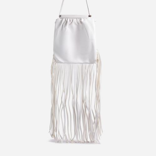 Western Tassel Detail Cross Body Bag In White Faux Leather
