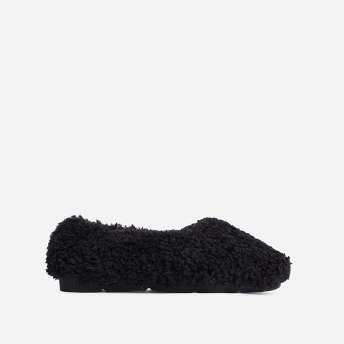 Furever Slip On Flat Shoe In Black Faux Shearling