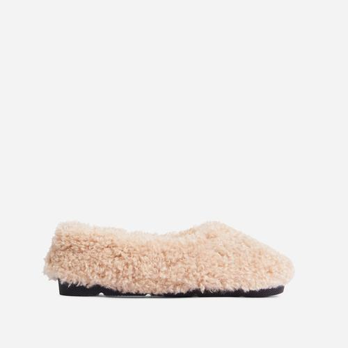 Furever Slip On Flat Shoe In Nude Faux Shearling