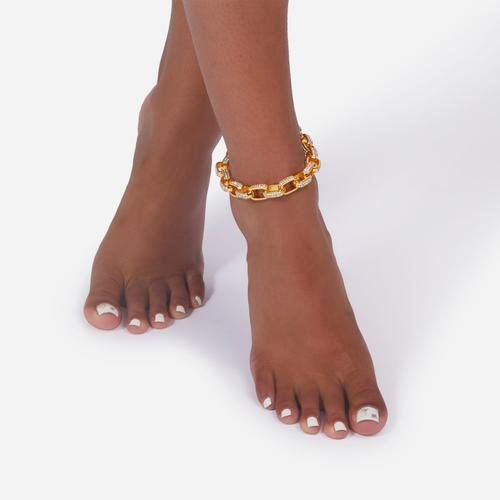 Diamante Detail Round Chain Anklet In Gold