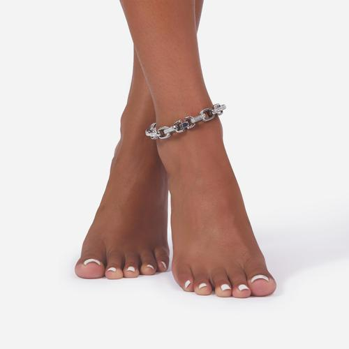 Diamante Detail Round Chain Anklet In Silver