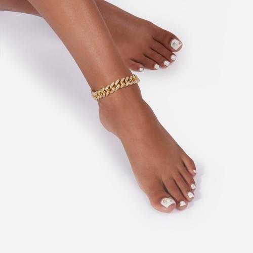Diamante Lock Detail Chain Anklet In Gold