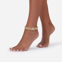 Diamante Wave Detail Anklet In Gold