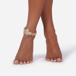 Butterfly Detail Chunky Chain Anklet In Gold