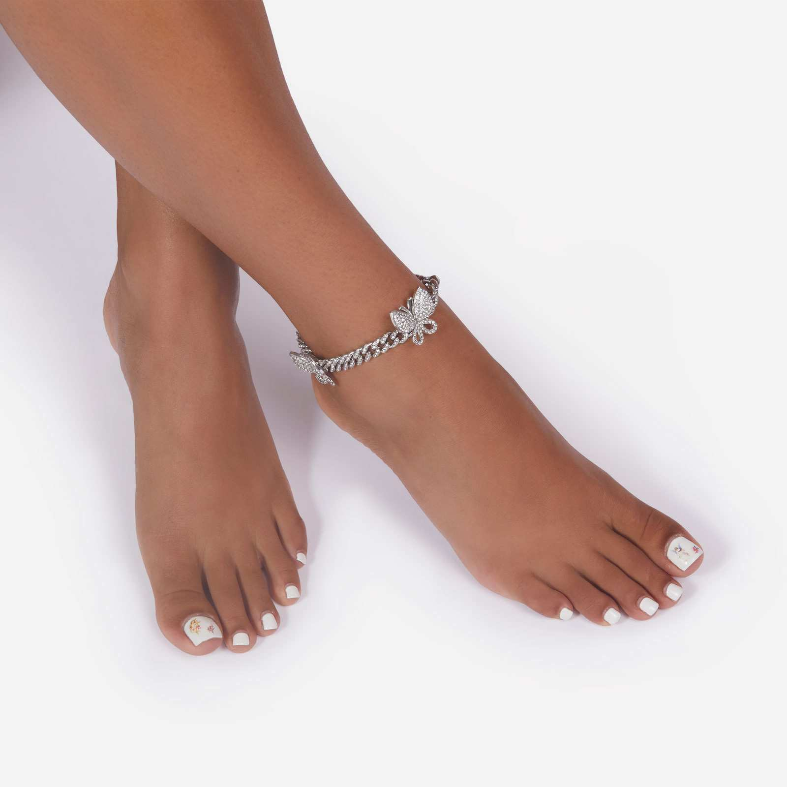 Diamante Butterfly Detail Anklet In Silver