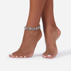 Diamante Star Detail Chunky Chain Anklet In Silver