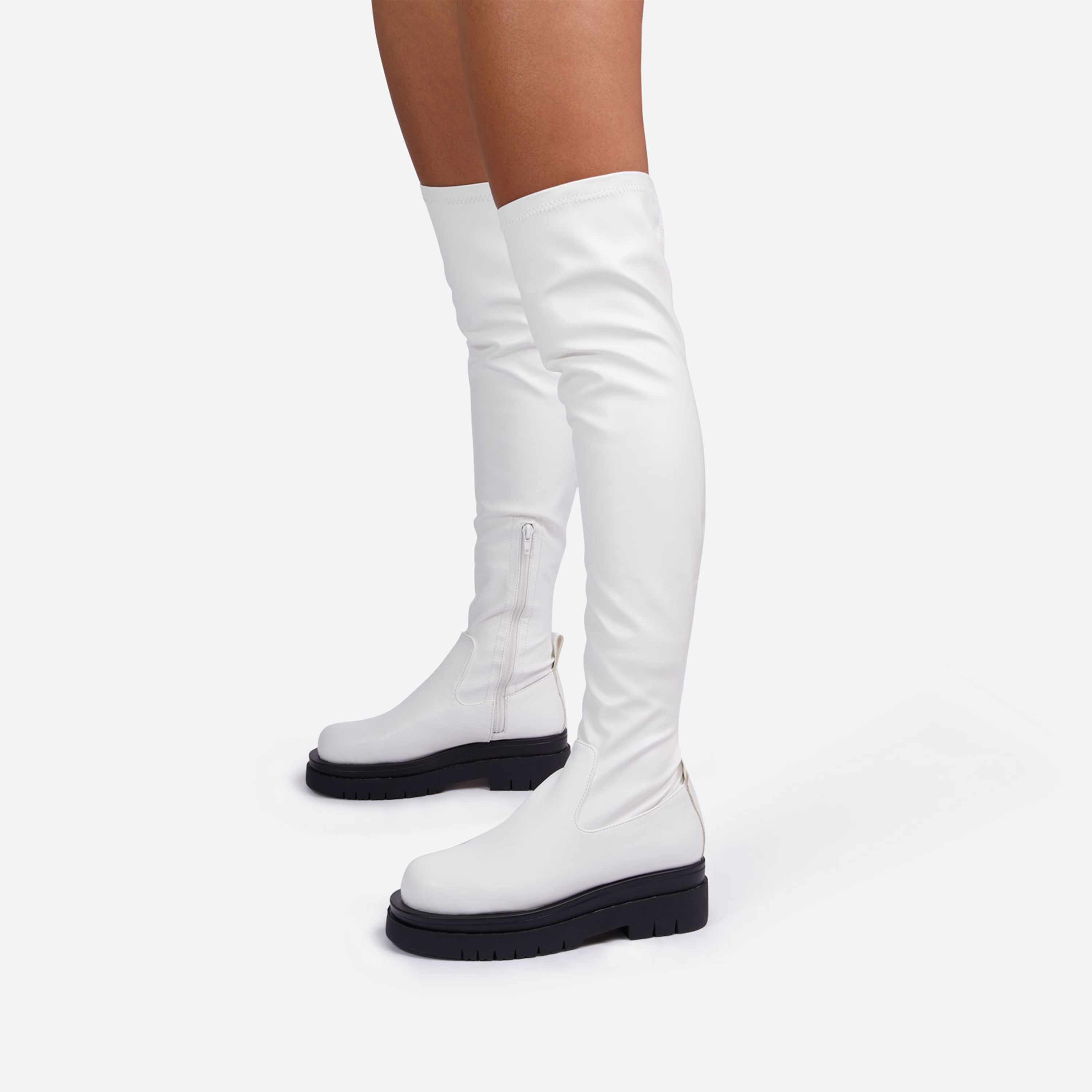 Reaching Over The Knee Thigh High Long Biker Boot In White Faux Leather