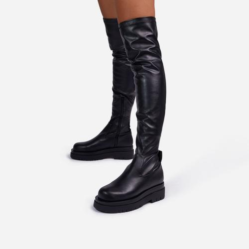 Reaching Over The Knee Thigh High Long Biker Boot In Black Faux Leather