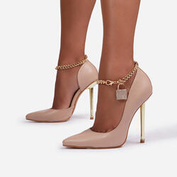Empower Diamante Padlock Chain Detail Metallic Court Heel In Nude Faux Leather