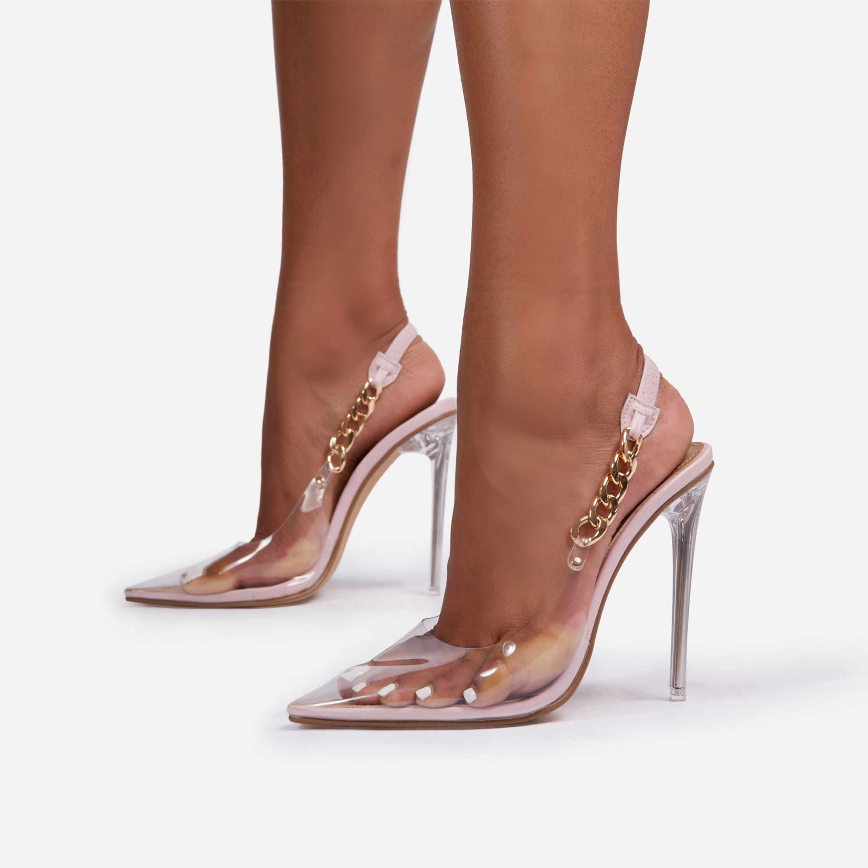 Martini Chunky Chain Detail Sling Back Clear Perspex Heel In Pink Faux Leather