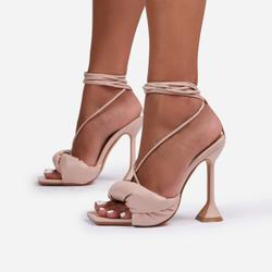 New-Moon Padded Lace Up Square Toe Pyramid Heel In Nude Faux Leather