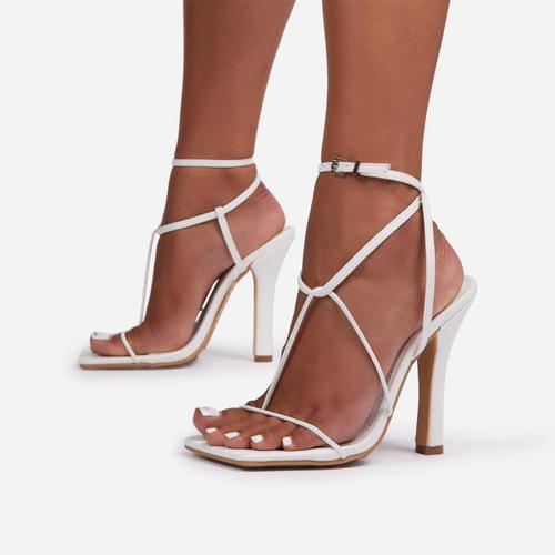 Glambition Strappy Square Toe Track Sole Heel In White Faux Leather