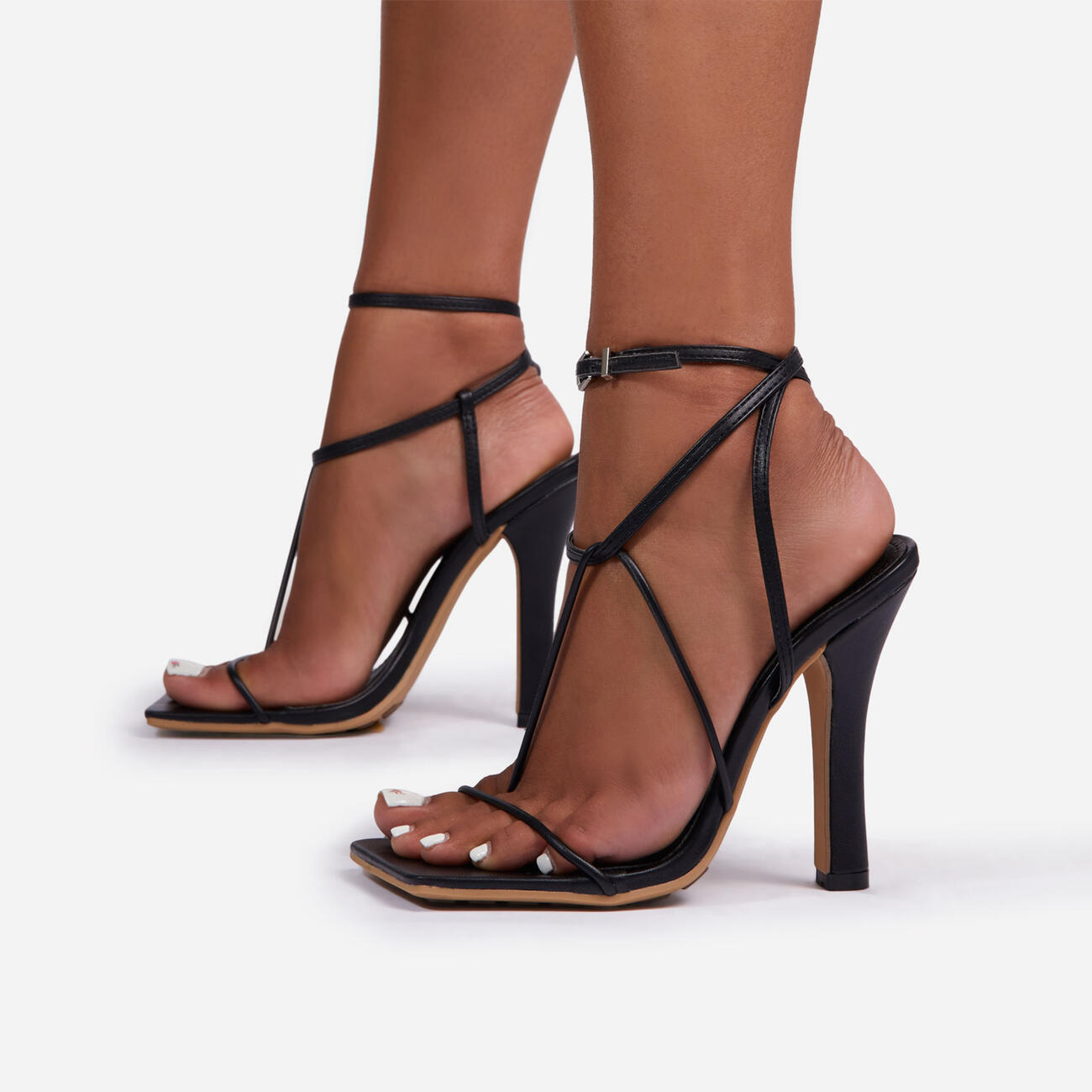Glambition Strappy Square Toe Track Sole Heel In Black Faux Leather Image 1